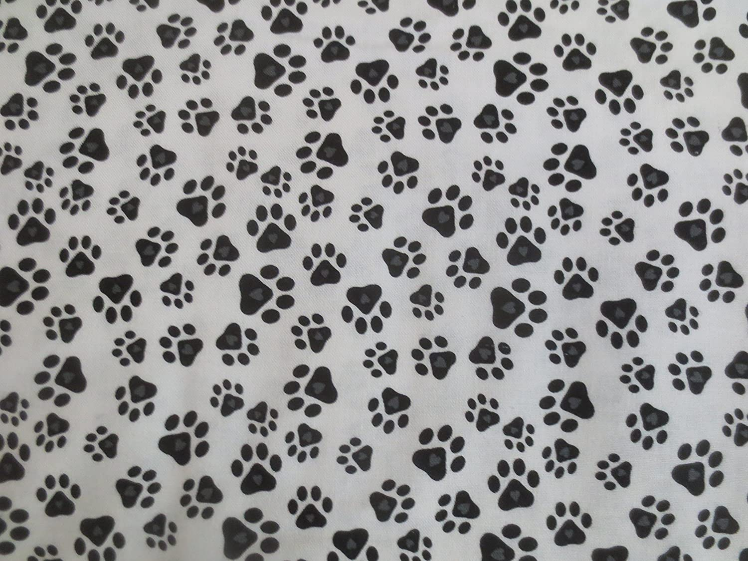 Must Love Dogs White With Small Dog Foot Prints Studio E Cotton Fabric