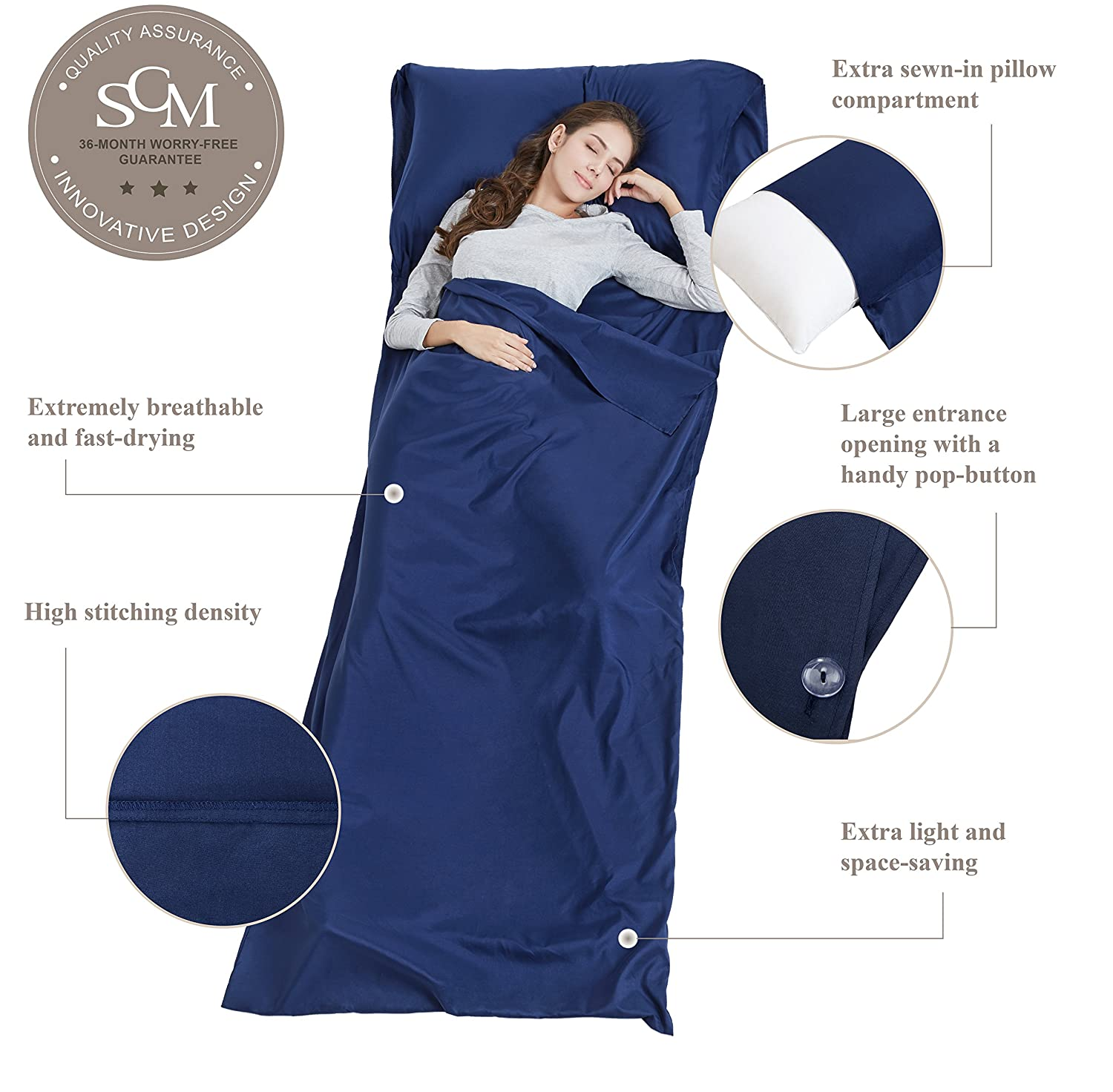 90220cm, Navy SCM Sleeping Bag Liner and Camping Sheet Lightweight with Button for Hotel Single
