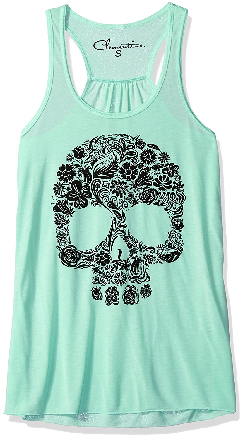 Mint Clementine Apparel Womens Clementine Women Floral Skull Graphic Flowy Racerback Tank Tank Top Cami Shirt