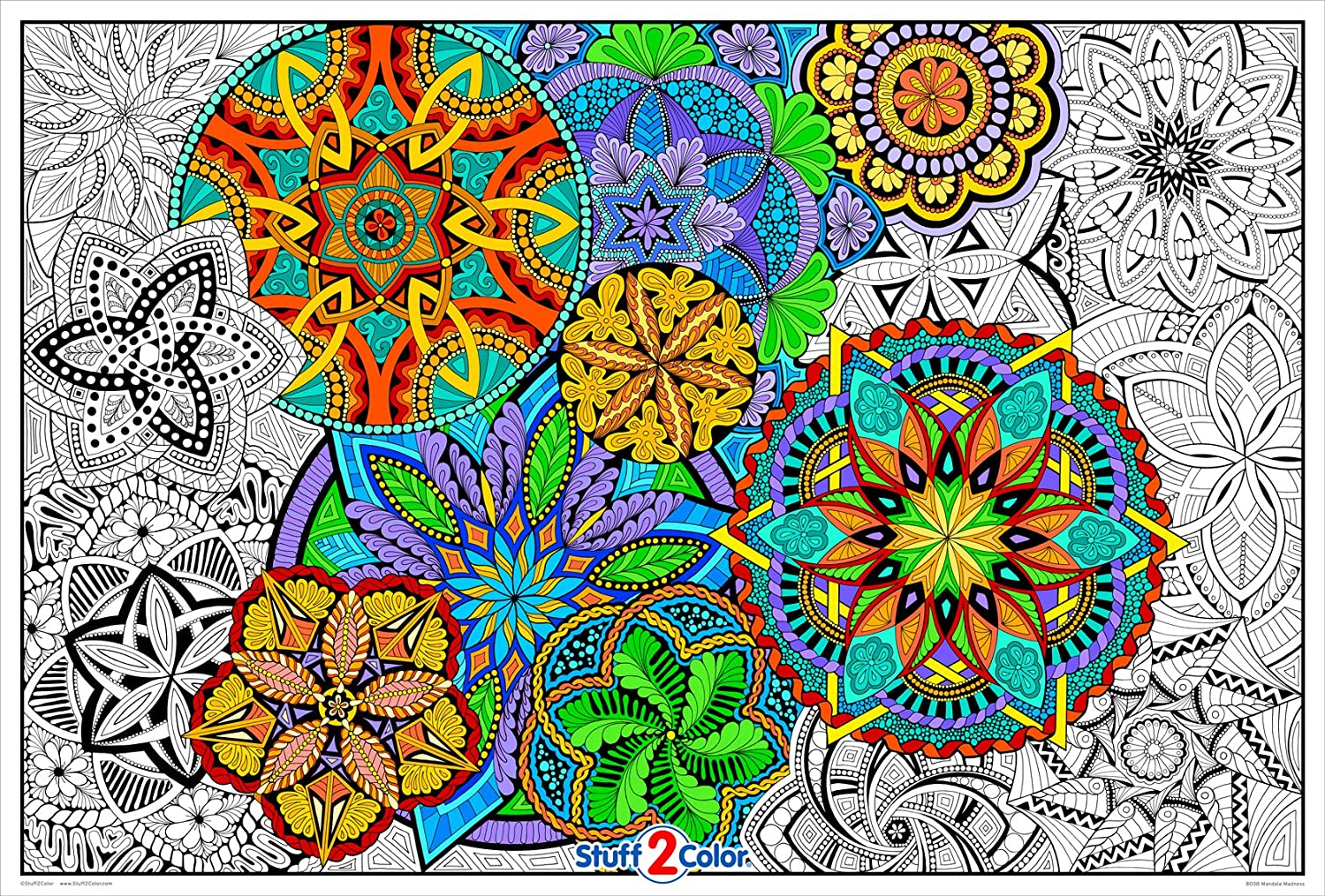 Amazon Com Giant Coloring Poster Mandala Madness For Kids And Adults Great For Family Time Girls Boys Arts And Crafts Adults Care Facilities Schools And Group Activities Posters Prints