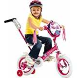 Schwinn Girls' Petunia 12-inch Steerable Bike,Pink/White