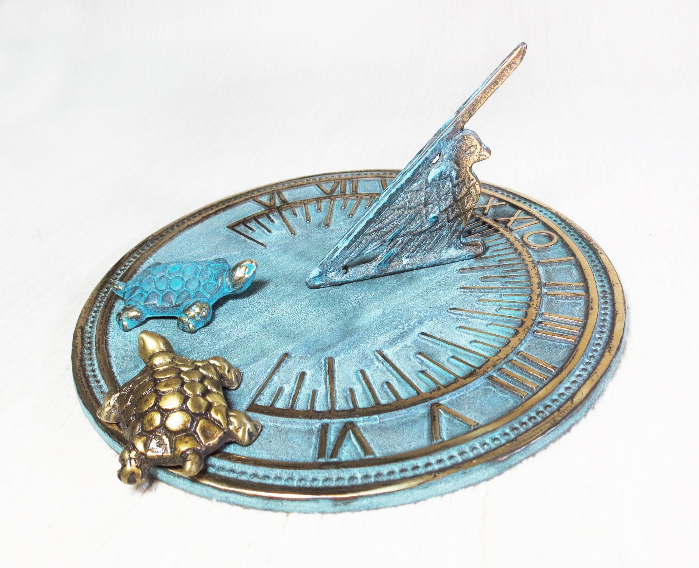 Decorative Brass Sundial 7'' inches wide - with 2 Little Turtles