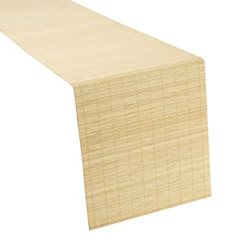 Hochwertige Bambus Natur Orientalische Creme Tischlaufer 30 X 130 Cm