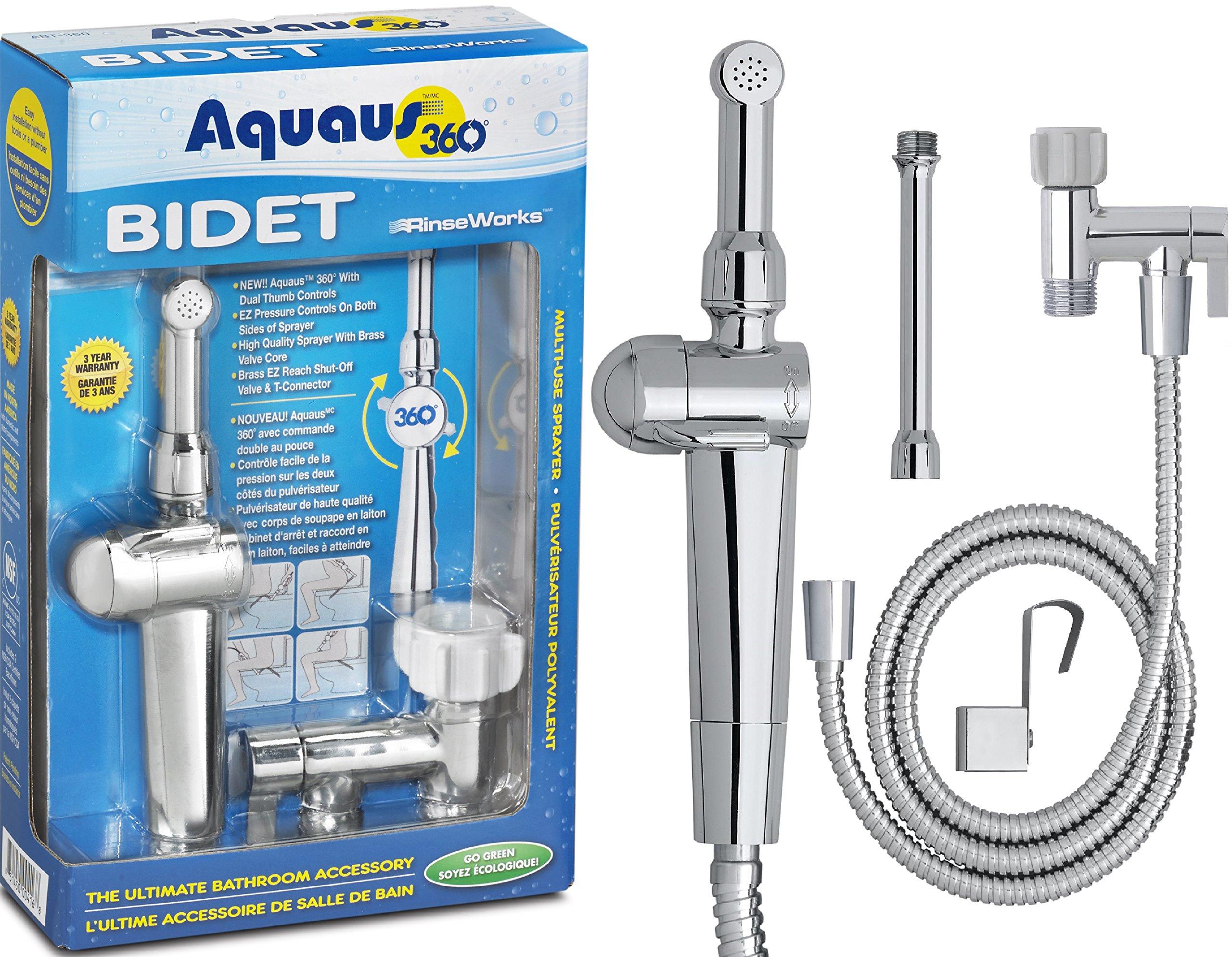 Rinseworks Aquaus 360 Hand Held Bidet Sprayer For Toilet Shattaf
