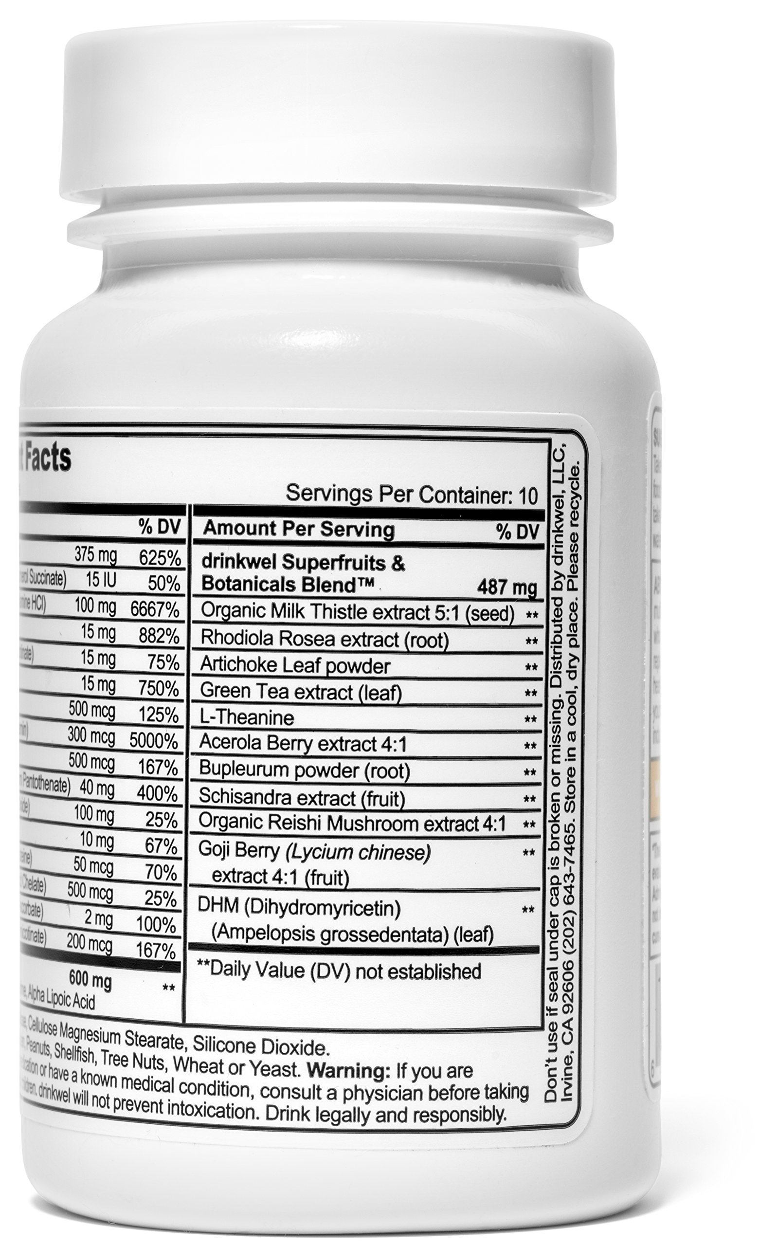 Drinkwel for Hangovers, Nutrient Replenishment & Liver Support (30 Vegetarian Capsules with Organic Milk Thistle, N-acetyl Cysteine, Alpha Lipoic Acid, and DHM) (Travel Size Bottle) by drinkwel (Image #4)