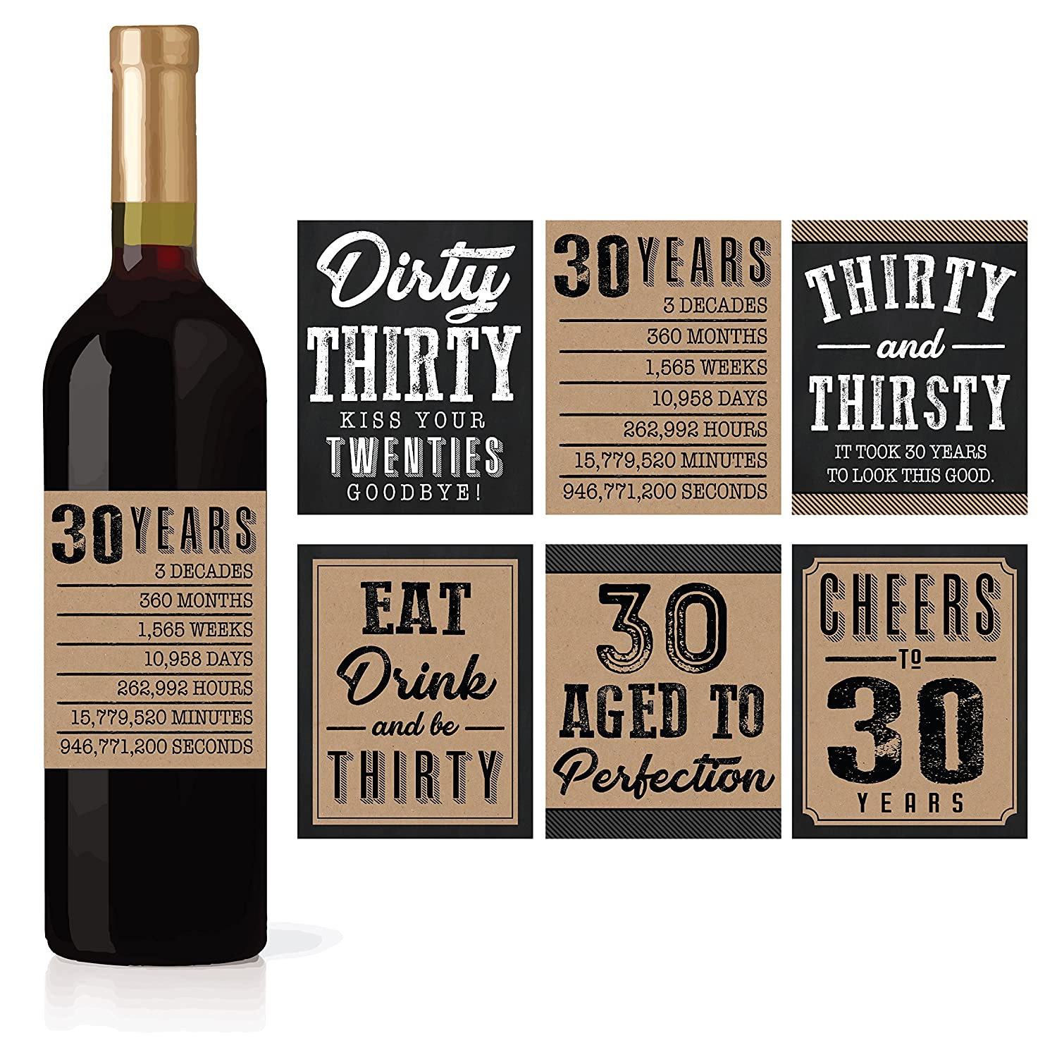 6 30th Birthday Wine Or Beer Bottle Labels Stickers Present Dirty Thirsty Thirty Bday Gifts For Him Men Cheers To 30 Years Funny Unique Party Decorations