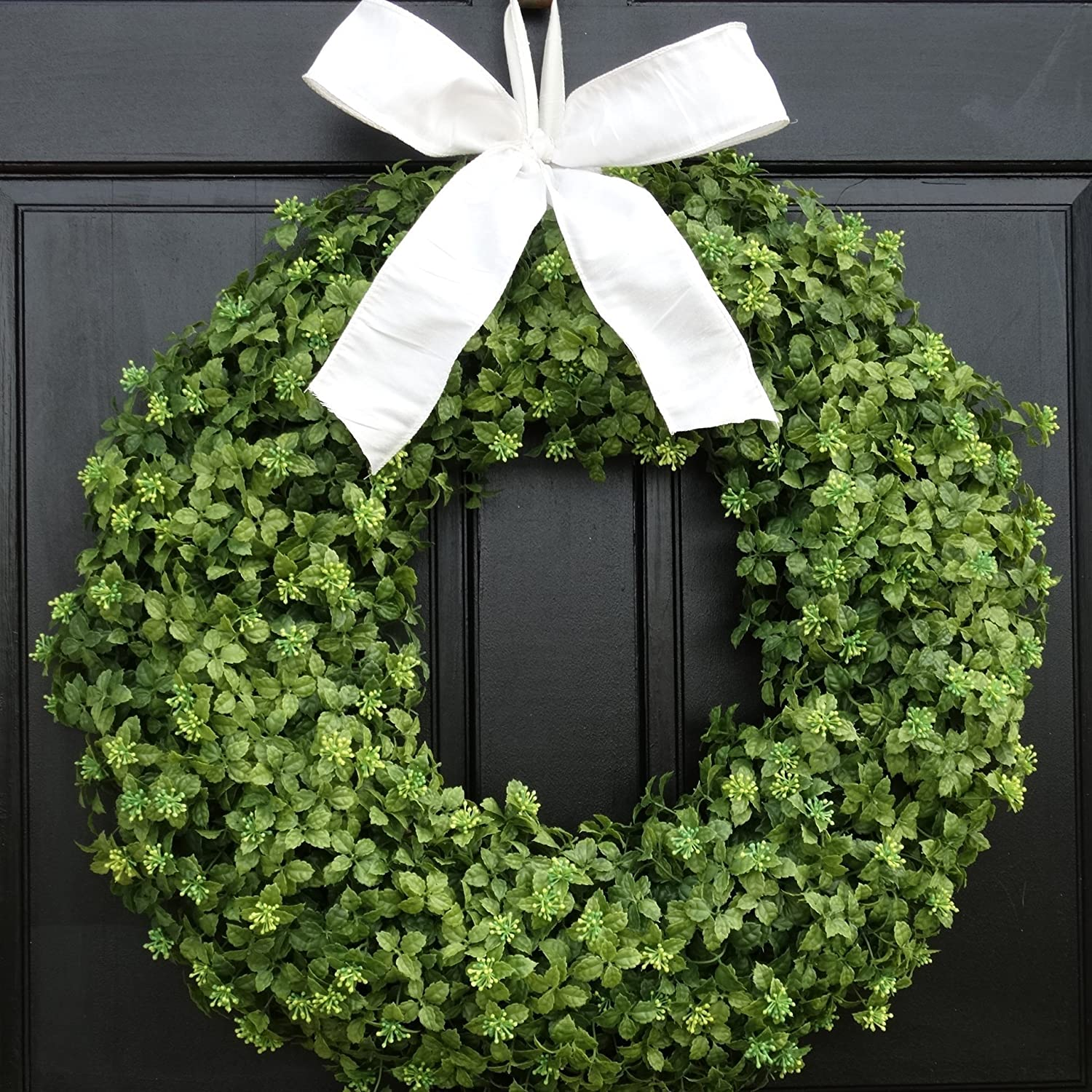 Extra Large Sizes; Indoor//Outdoor Spring Boxwood Wreath for Front Door Decor; Summer Year Round Everyday Artificial Greenery Decoration; Small