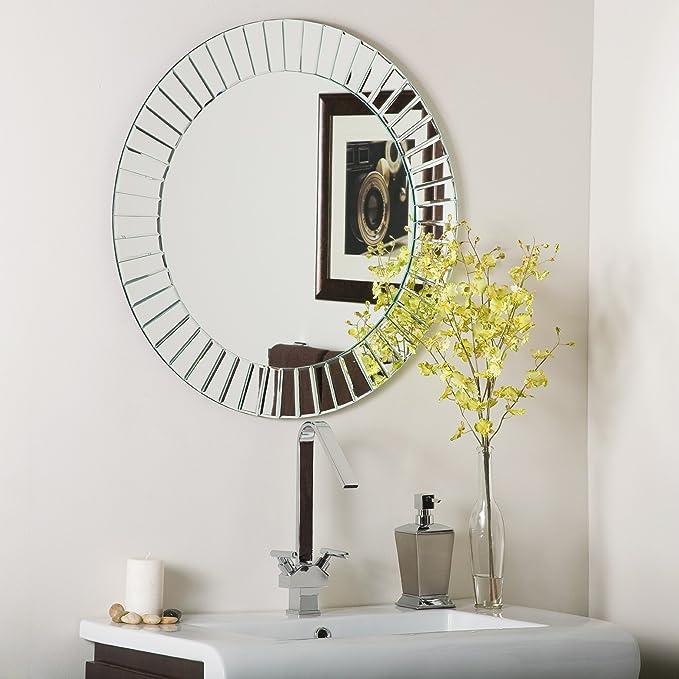 Decor Wonderland The Glow Modern Frameless Wall Mirror Home Kitchen Amazon Com