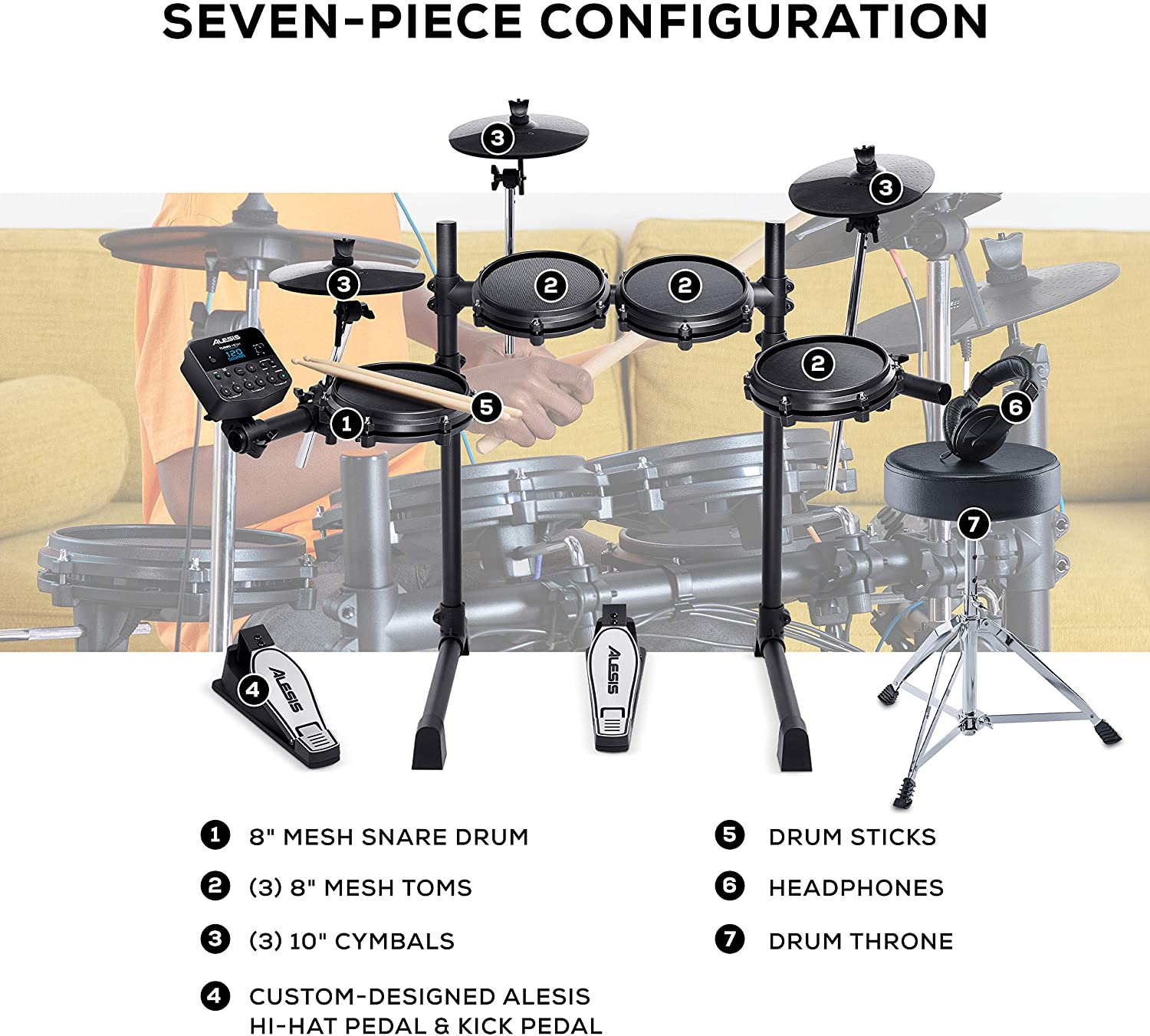 Complete Electric Drum Set Accessory Pack including A Drum Throne ...
