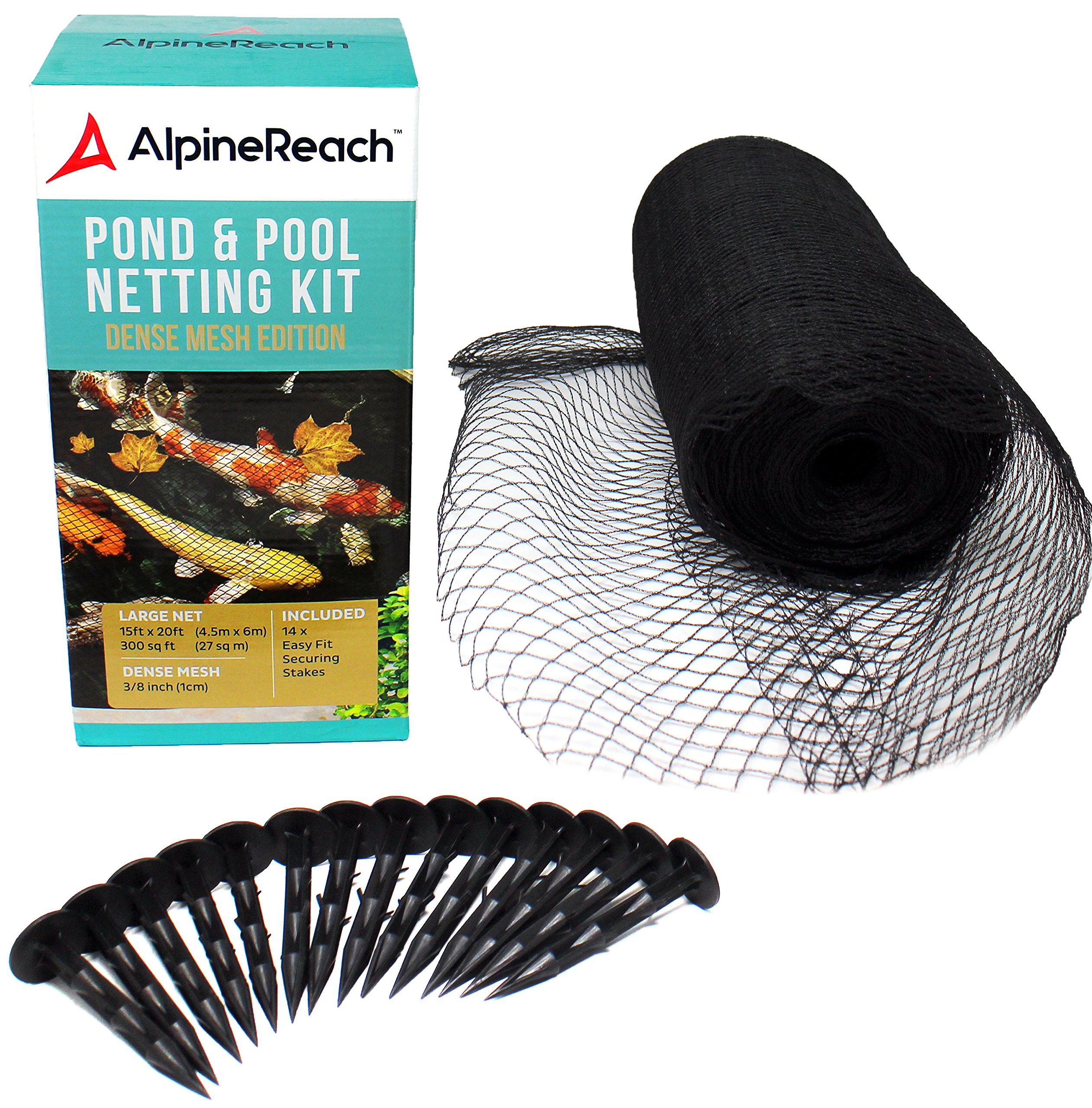 AlpineReach Koi Pond Netting Kit 15 x 20 Feet - Dense Fine Mesh Heavy Duty Stretch Pool Pond Net Cover for Leaves - Protects Koi Fish from Blue Heron Birds Cats Predators UV Protection Stakes Included by AlpineReach