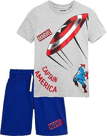 Marvel Pijama Niño Verano, Pijamas Niños Cortos de Los Vengadores Iron Man Capitan America Hulk, Conjunto Niño Verano 2 Piezas, Regalos para Niños Adolescentes 8-14 Años