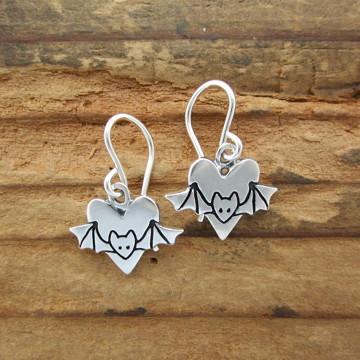 Sterling Silver Heart and Bat Earrings