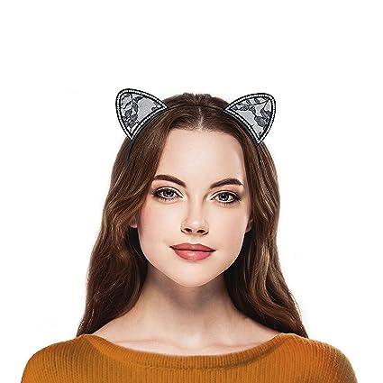 LUX accesorios cristal de orejas de gato de encaje negro disfraz de