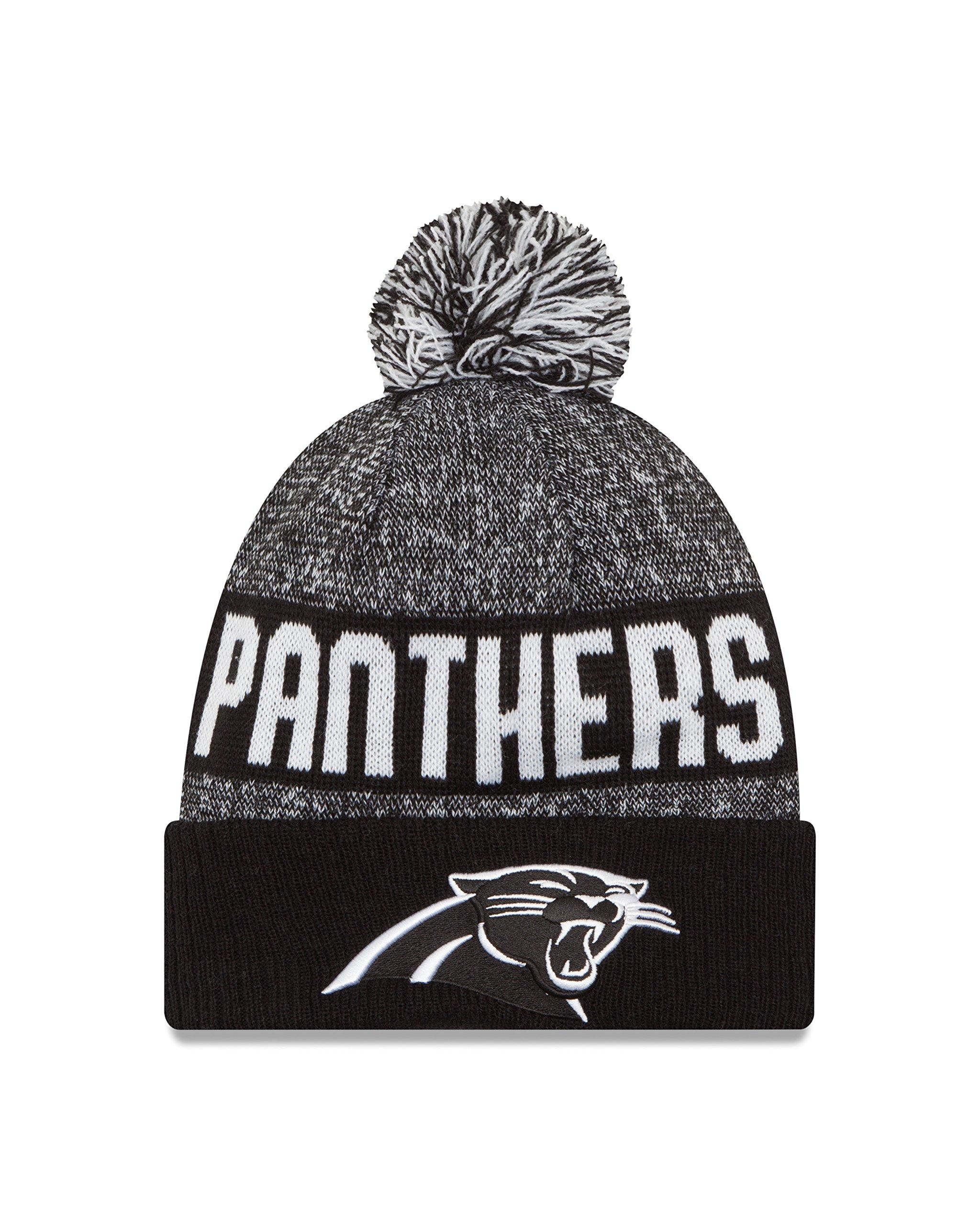 New Era NFL Carolina Panthers 2016 Sport Knit Beanie, One Size, Black/White