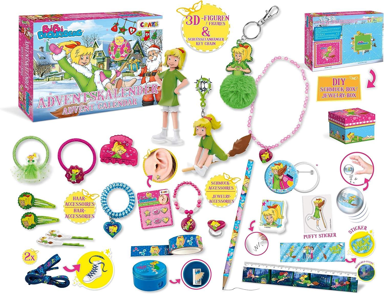 CRAZE 25291 Adventskalender Bibi Blocksberg Weihnachtskalender für Mädchen Jungen Spielzeugkalender, kreative Inhalte, Tolle Überraschungen