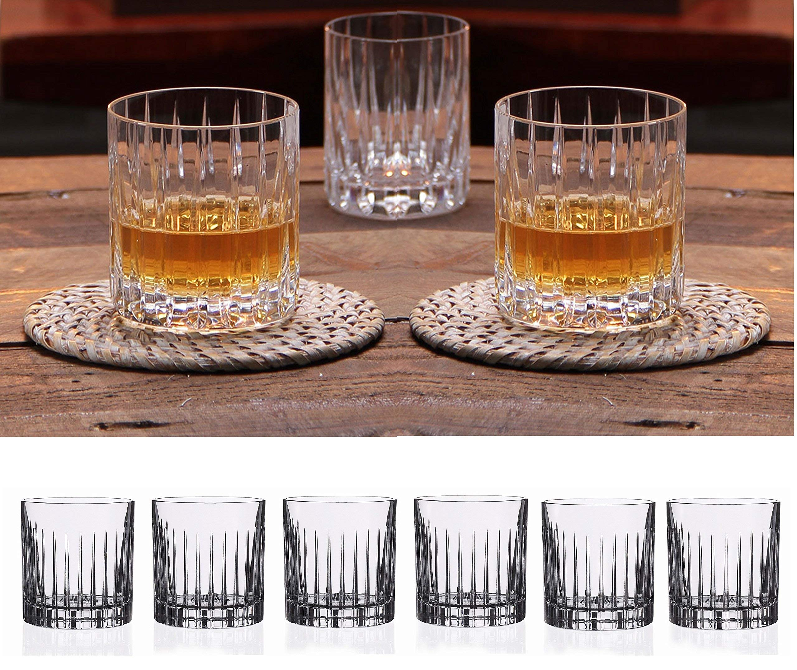 Double Old Fashioned Crystal Glasses, Set of 6, Perfect for serving scotch, whiskey or mixed drinks. (New York) pattern by Le'raze (Image #1)