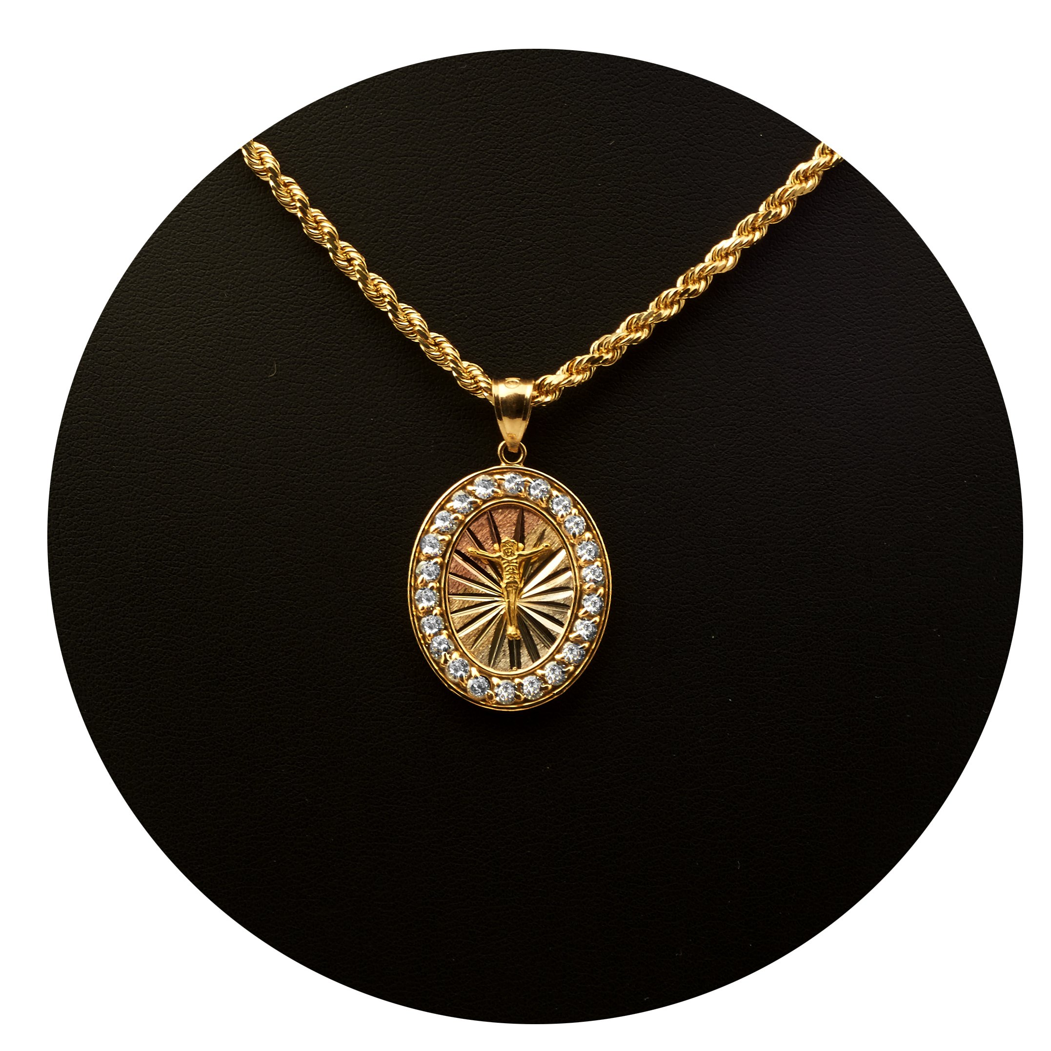 LoveBling 10K Yellow Gold Tri Color Jesus Cross Medallion Charm Pendent with 22 CZ Stones (1.38'' x 0.83)