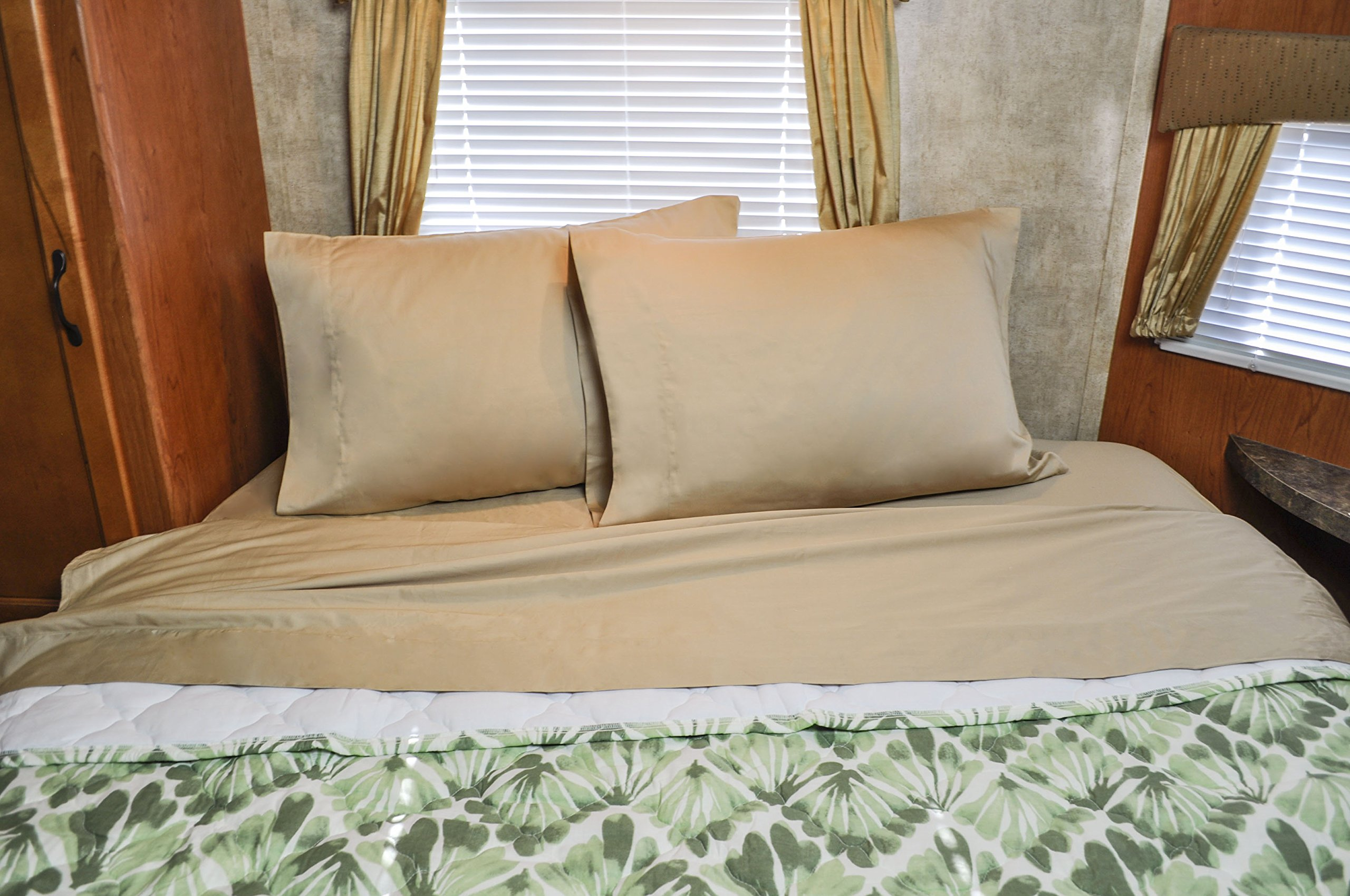 AB Lifestyles Short Queen Camper RV Sheet Set 100% cotton featuring NoTuck Top Sheet design! Color: Camel