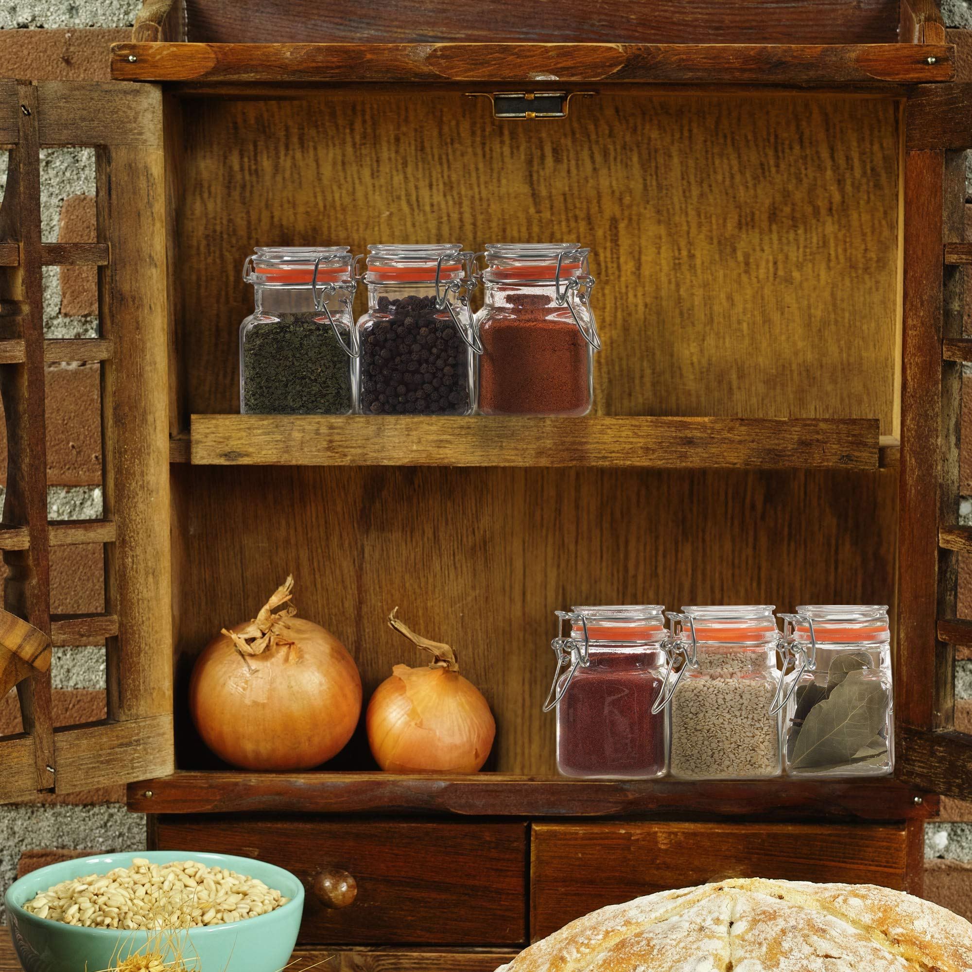 24 Count 3.4 oz Spice Jars Glass Jar with Airtight Lid, Mini Square Glass Spice Jars, Empty Spice Bottles with Labels, Dried Herbs Jars, Glass Apothecary Jars with Lids, Small Glass Spice Containers24 by California Home Goods (Image #7)