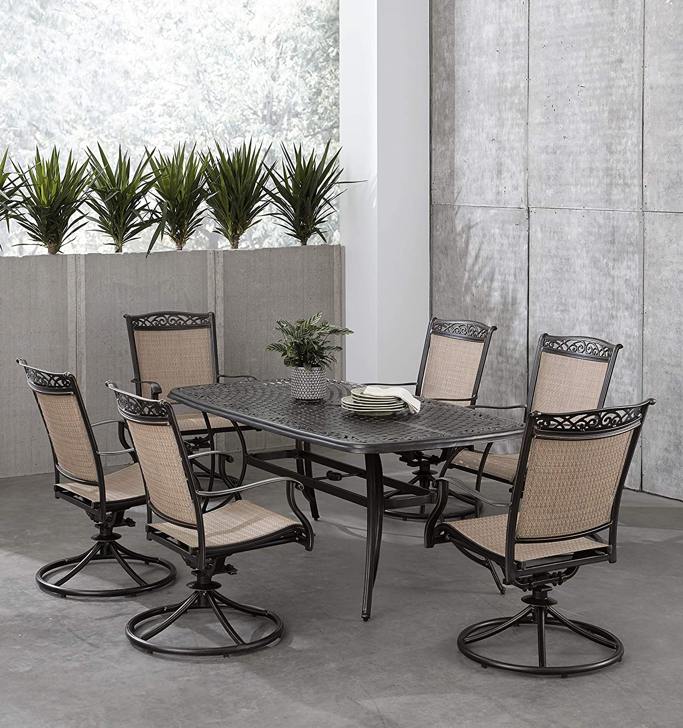 Hanover Fontana 7-Piece Dining Set with 6 Sling Swivel Rockers and a 38-in. x 72-in. Cast-Top Table, FNTDN7PCSWC Outdoor Furniture, Tan