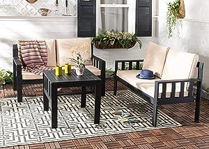 Safavieh PAT6749A Collection Lardner Grey and Sahara Living Outdoor Set, Dark Slate Gray/Dark Beige