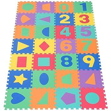 HOMCOM Alfombra Puzle Niños Colchoneta Suave 2.52㎡ Juego Rompecabezas para Niños 28pcs Figuras Geométricas y Números Espuma EVA
