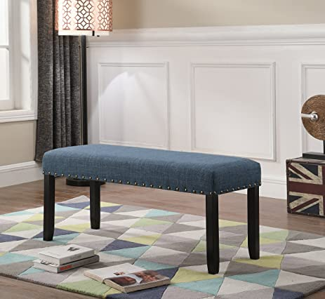 Roundhill Furniture CB162BU Biony Fabric Dining Bench With Nailhead Trim,  Blue