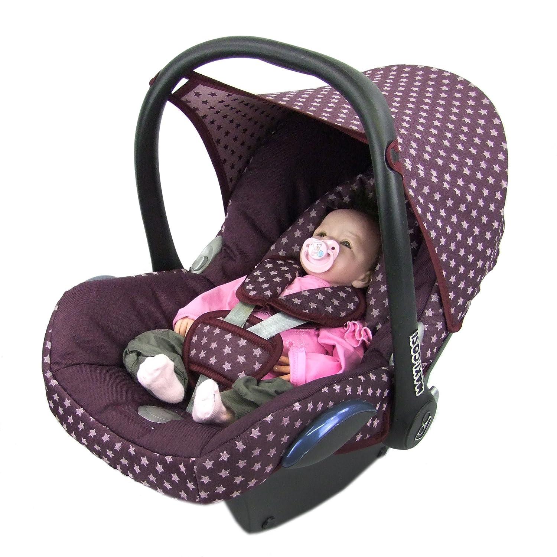 BAMBINIWELT Ersatzbezug für Maxi-Cosi CabrioFix 6-tlg, Bezug für Babyschale, Komplett-Set STERNE BORDEAUX *NEU* Bezug für Babyschale
