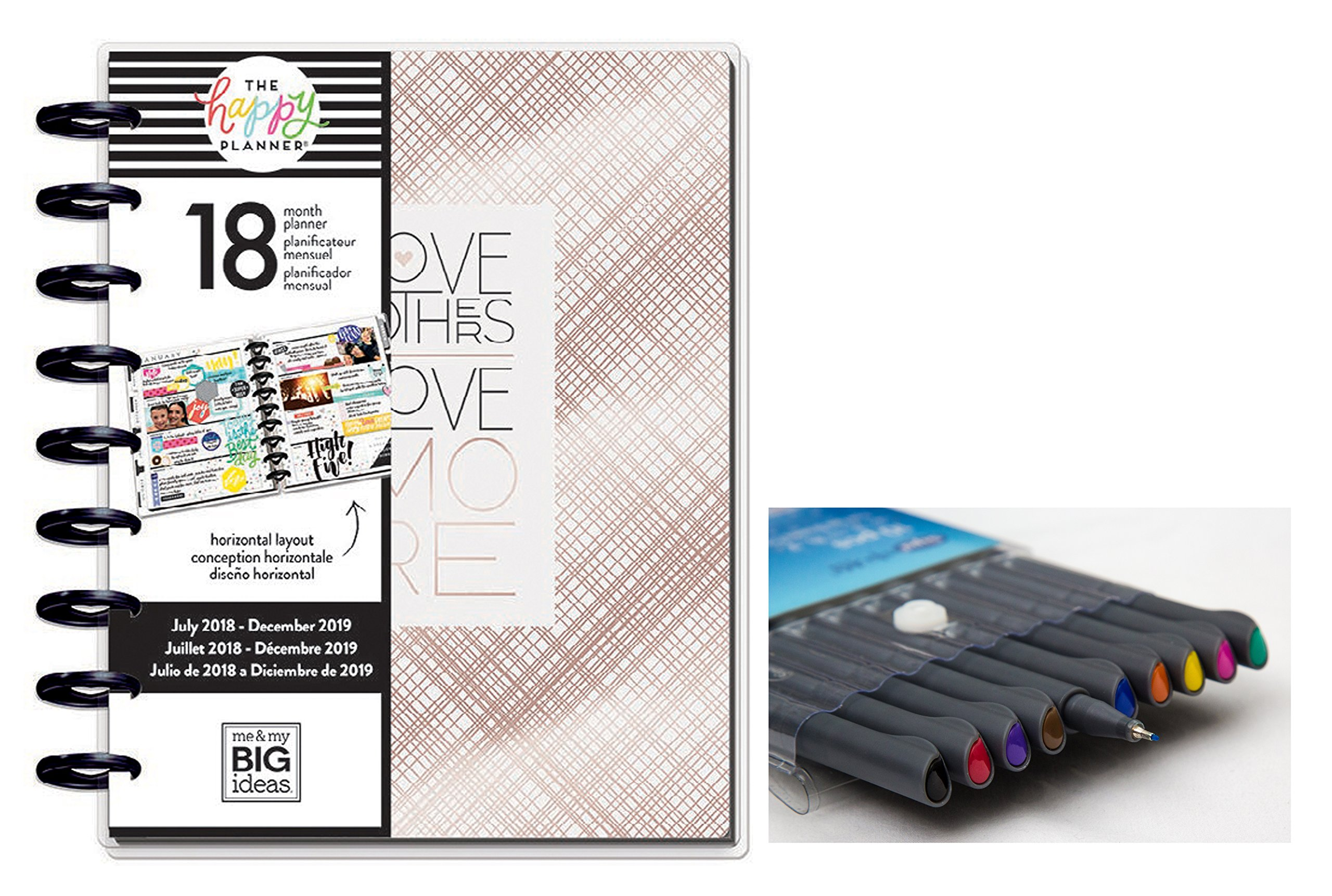me & my BIG ideas the Happy Planner: Medium/Classic Modern Chic July 2018 - Dec 2019 and Comes with Kemah Craft 10 Pc Fineliner Color Pens (PLNR-75)