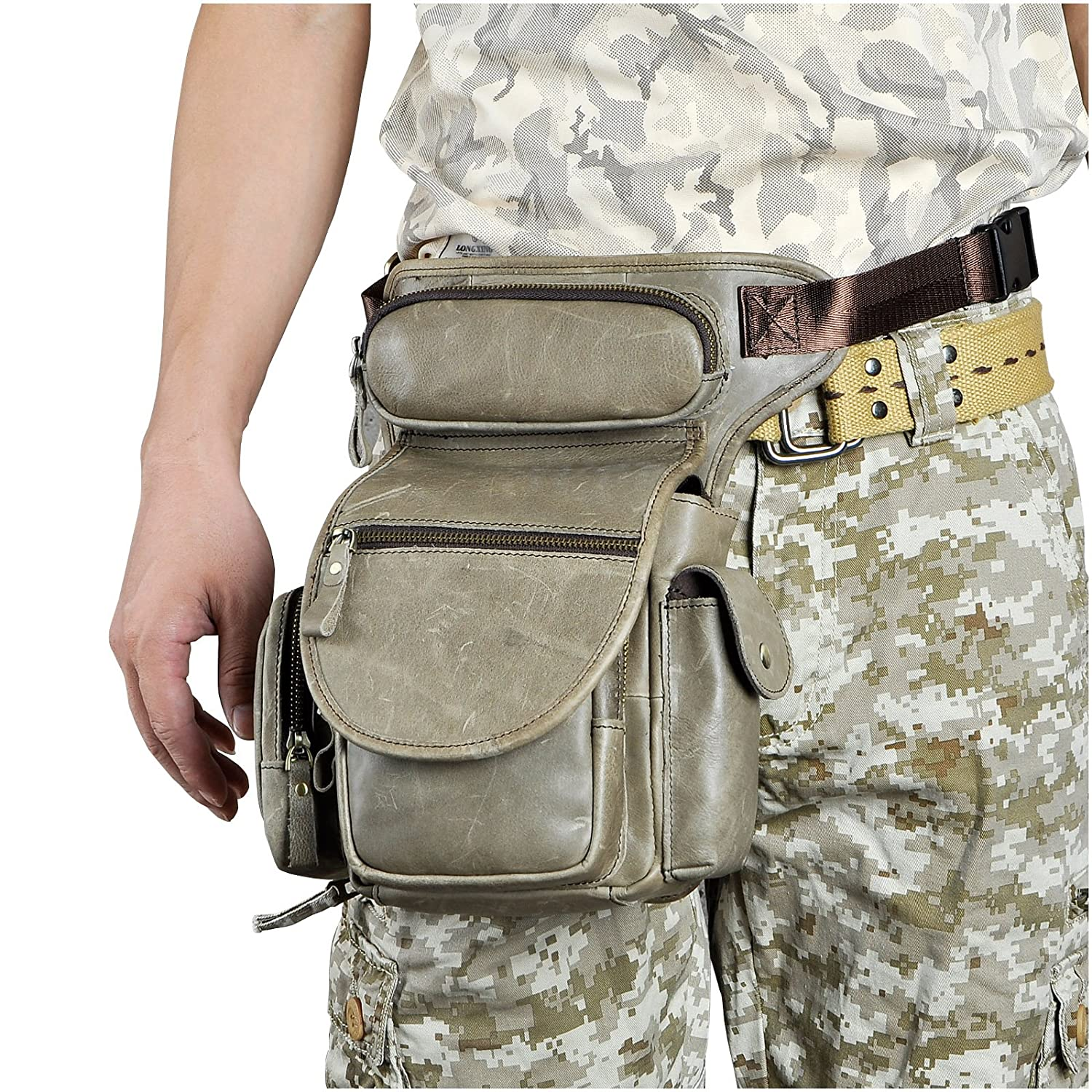 Leaokuu Mens Genuine Leather Climbing Cycling Belt Waist Bag Hip Bum Fanny Pack Drop Leg Bag 3110