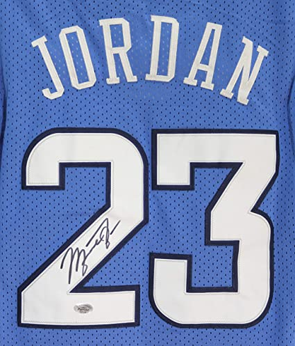 756bc935 Image Unavailable. Image not available for. Color: Michael Jordan North  Carolina Tar Heels Signed Autographed Blue #23 Jersey