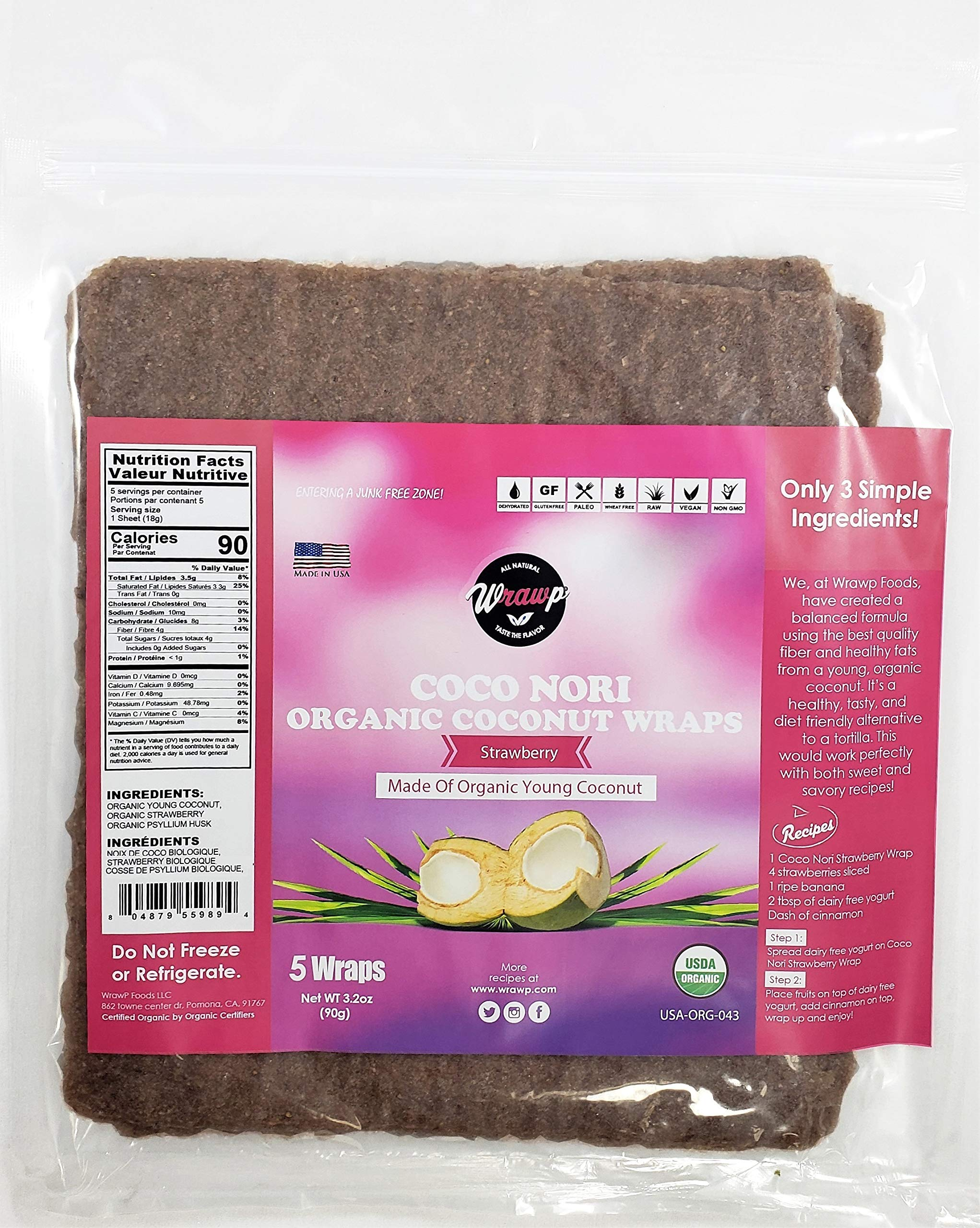 Organic Coconut Wraps, 6 Pack Coco Nori Strawberry (Raw, Vegan, Paleo, Gluten Free wraps) Made from young Thai Coconuts