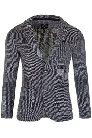 4b5bef1809179e Herren Sakko Slim Fit Premium Jacke Kickdown Business Strick Blazer Anzug  (Schwarz, M (