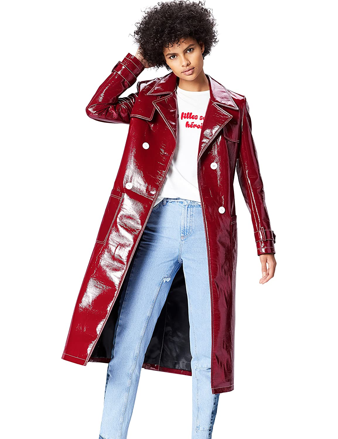 FIND Women's Red Patent Trench Coat C0626