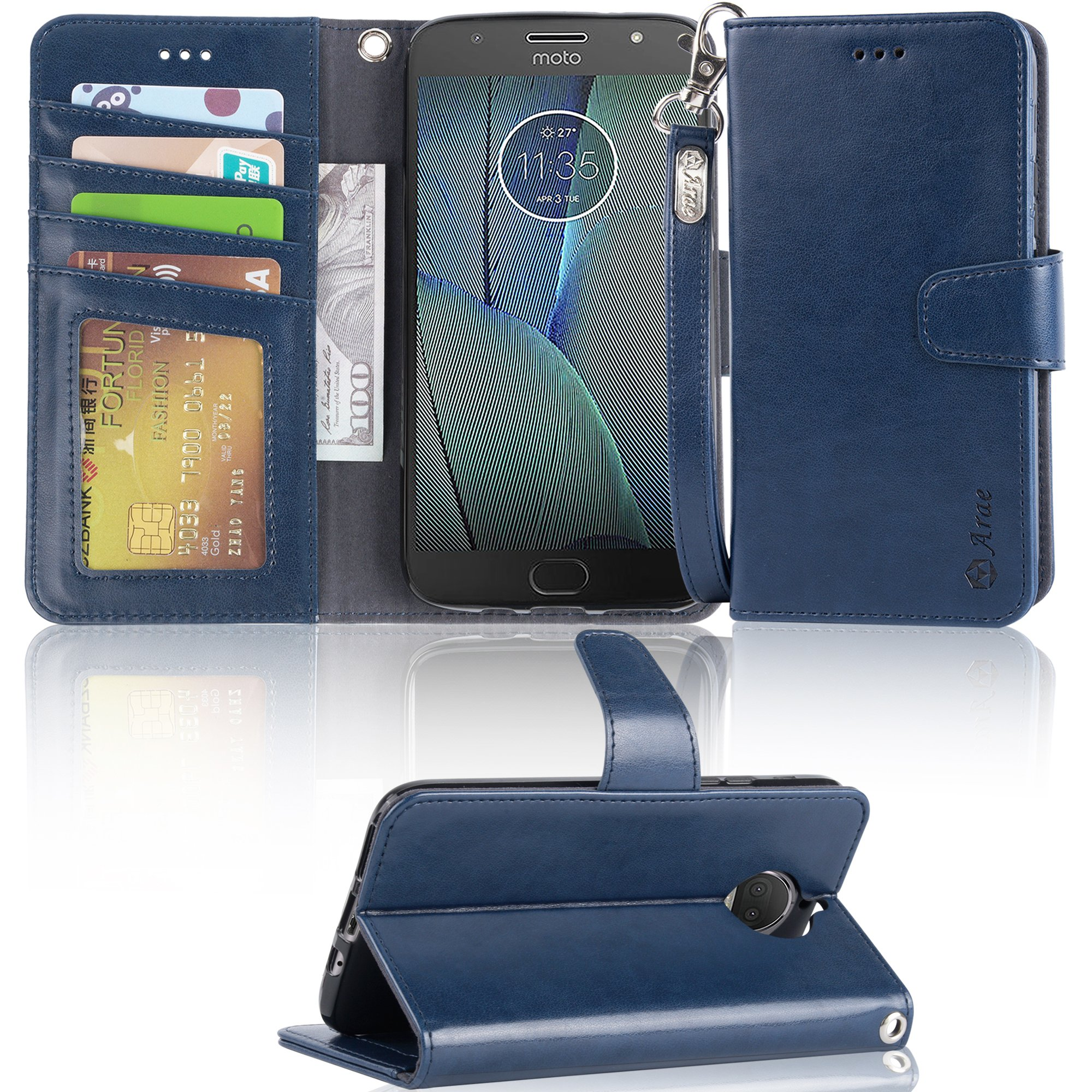 Moto G5S plus Case,Moto G5S plus wallet Case,Arae [Wrist Strap] Flip Folio [Kickstand Feature] PU leather wallet case with ID&Credit Card Pockets For Moto G5S plus (Not for G5S,Not for G5 plus),blue