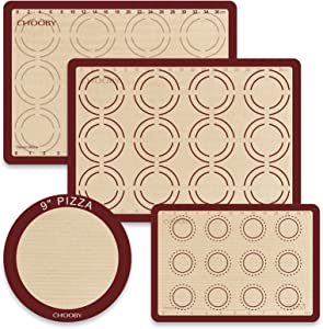 Silicone Baking sheets Mats Set, CHOOBY Kitchen Pastry Mat with Measurement, Food Safe Oven Liners for Making Cookies Macaron Bread Pizza Pie, Set of 4(2 Half 1 Quarter 1 Round)