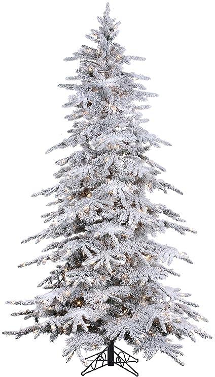 Amazon Com 7 6 Pre Lit Flocked Bavarian Pine Artificial White
