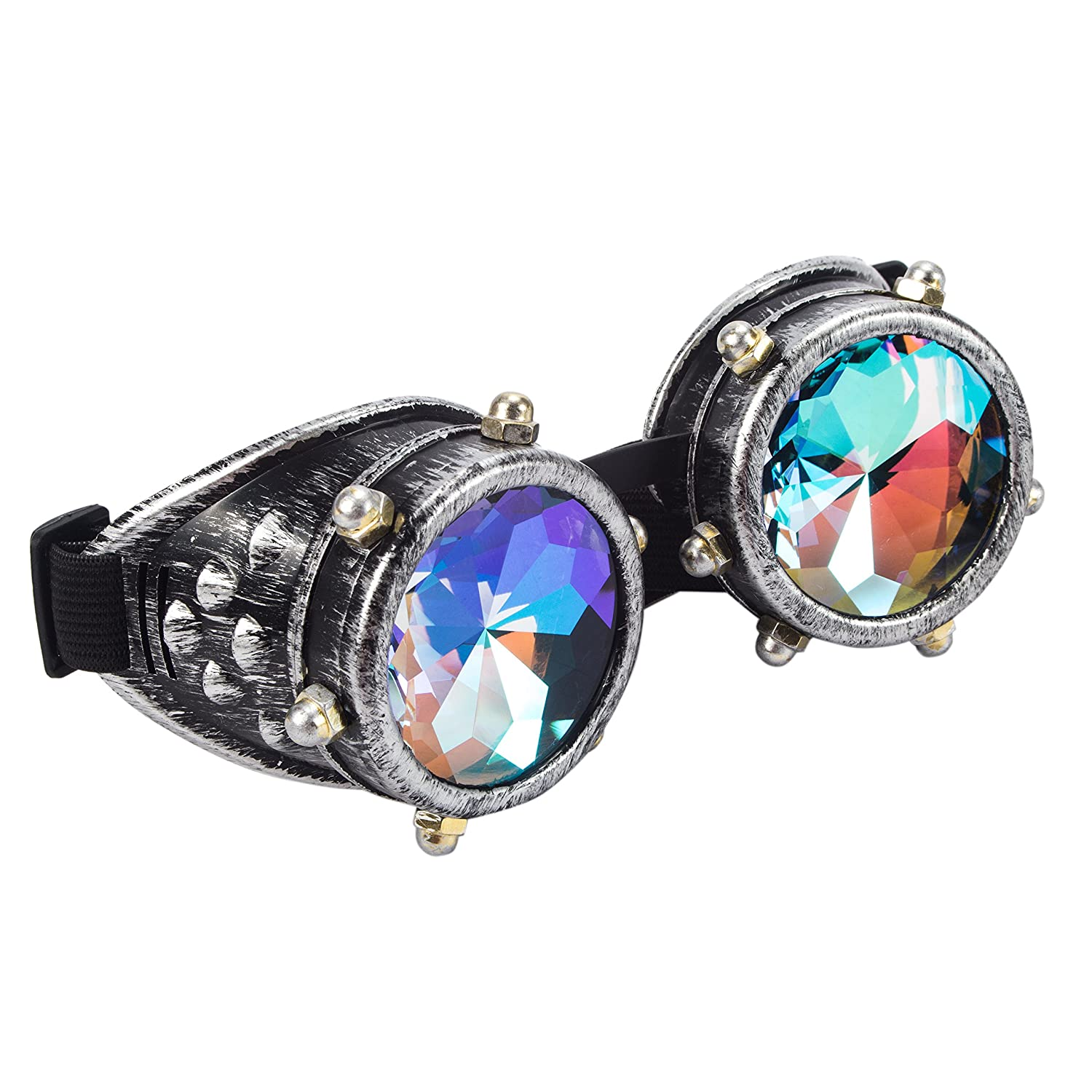 4daed53c4a30 Buy Kaleidoscope Rave Goggles Steampunk Glasses with Rainbow Crystal Glass  Lens Online at Low Prices in India - Amazon.in