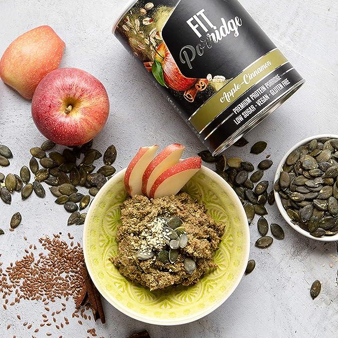 nu3 Fit Porridge – Gachas de avena proteica 400g – Sabor manzana & canela – 16 g de proteína – Muesli instantáneo sin gluten – Bajas en azúcar – ...