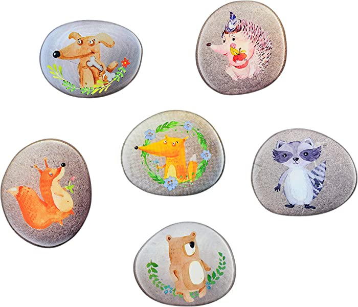 Morcart Refrigerator Magnets Cute Animals Magnets (Hedgehog Puppies Fox Squirrels Civet Cats Brown Bears)6-Sets Suitable For Babyclassroom Office Supplies Whiteboard Menu