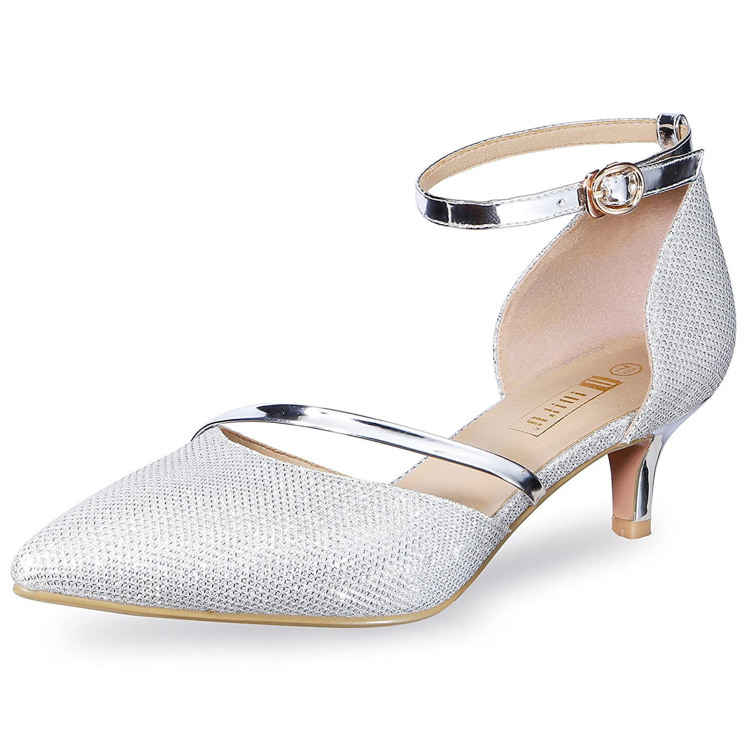 IDIFU Womens IN2 Maxine Sequins Mid Kitten Heels Closed Pointed Toe D-Orsay Party Sandal Low Heels Bridal Pump Wedding Shoes