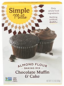 Simple Mills Almond Flour Baking Mix, Gluten Free Chocolate Cake Mix, Muffin pan ready, Made with whole foods, (Packaging May Vary), (Pack of 1) Chocolate Muffin & Cupcake Mix, 11.2 Ounce