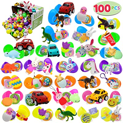 "100 PCs Toys Plus Stickers Prefilled Easter Eggs Premium Hinged 2 3/8"" for Easter Theme Party Favor, Eggs Hunt, Basket Stuffers Fillers, Birthday Party Decorations(Quality Toys): Toys & Games"