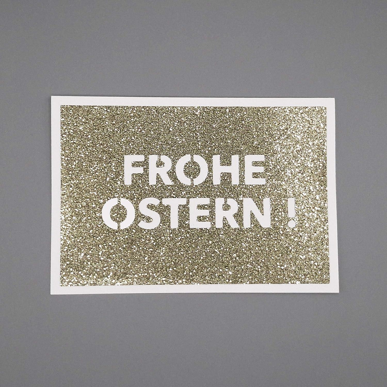 FROHE OSTERN Gru/ßkarte oder Gutscheinhalter HANDMADE Geschenkkarte Karte mit Briefumschlag GLITTER in GOLD by AniPolDesign aus Hamburg