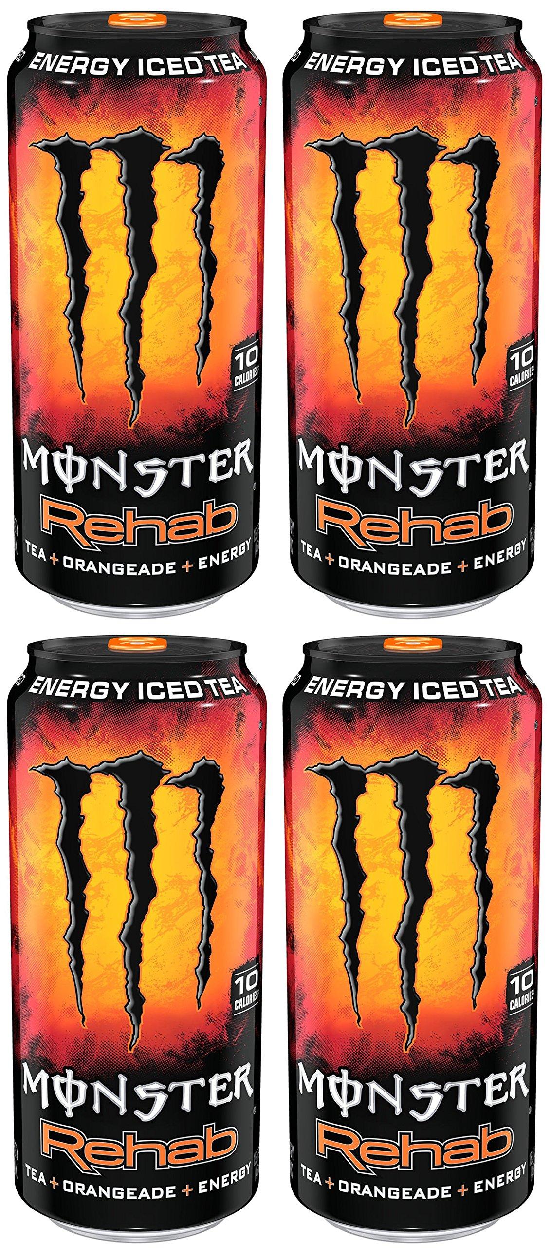 AQSSDQC Monster Rehab, Tea, Orangeade, Energy, 15.5 Ounce, 4 Cases