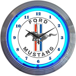 """Neonetics Ford Mustang Blue Neon Wall Clock, 15"""""""