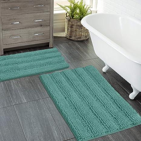 Non Slip Thick Chenille Striped Pattern Bath Rugs for Bathroom Non Slip Dark Brown Indoor Mats Rugs Washable Soft Plush Shaggy Bath Mats for Bathroom Floor