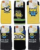 Mens Minions 6 PAIRS Socks Novelty Gift Adult 6-11