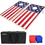 GoSports Flag Series Wood Cornhole Sets – Choose between American Flag and State Flags – Includes Two Regulation Size 4' x 2'