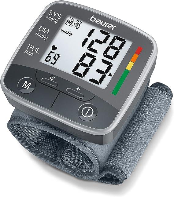 Beurer BC32 Tensiómetro de muñeca, gran pantalla LCD clara, detección arritmia, de apagado automático, 2 x 60 memorias, color gris, diámetro muñeca (13.5-19.5 cm): Amazon.es: Salud y cuidado personal
